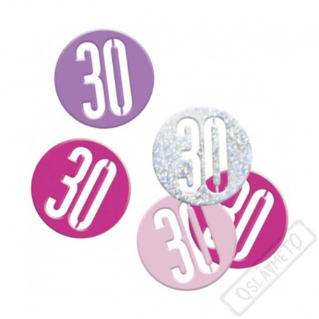 Dekorační konfety na stůl číslo 30 růžové