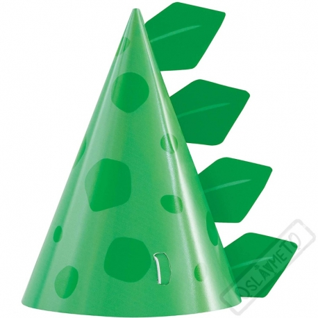 Papírové party kloboučky Dino