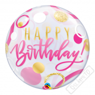 Nafukovací balón bublina Dotty pink 56cm