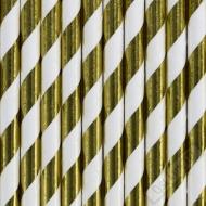 Papírová brčka Stripe zlatá