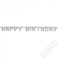 Narozeninová girlanda Happy Birthday stříbrná