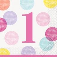Papírové party ubrousky 1. narozeniny Girl