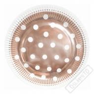 Papírové party talíře Rose-gold s puntíky