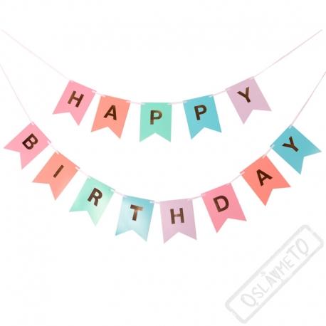 Party girlandy vlaječkové Happy Birthday Pastel